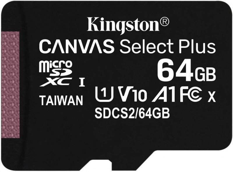 Kingston microSDCS2 Canvas Select Plus karta 64 GB + adaptér