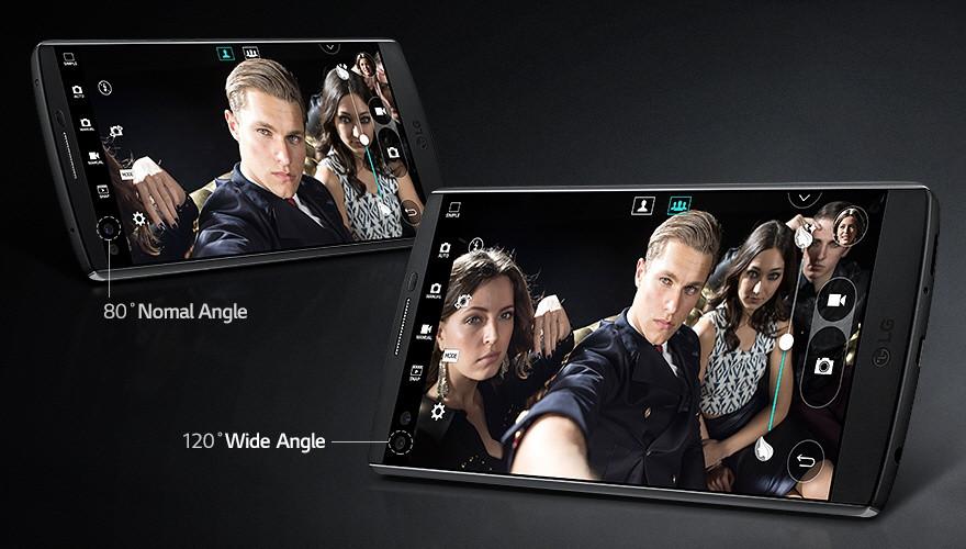 Duální přední kamera - záběr až 120°