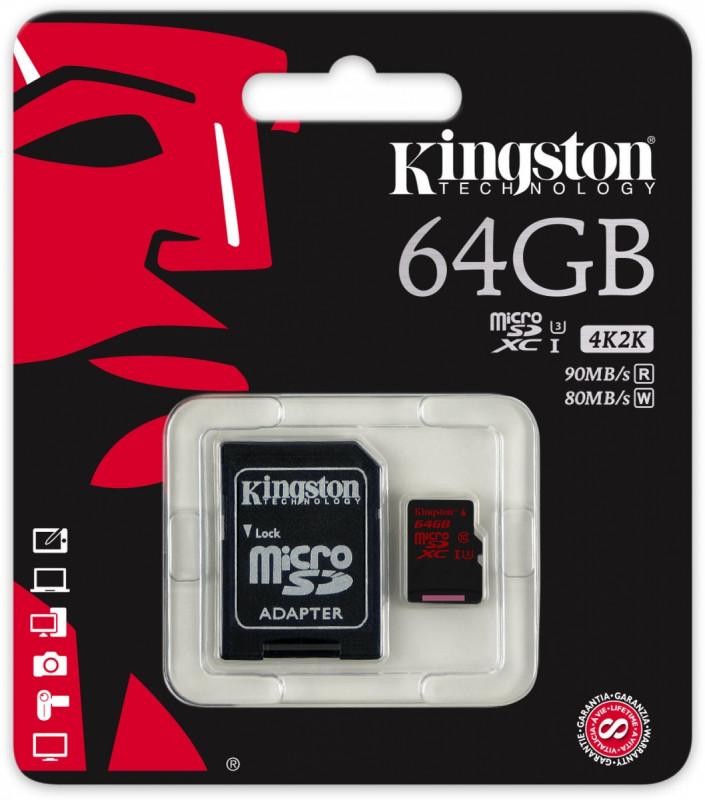 Kingston Micro SDXC 64GB Class 10 UHS-I U3 + SD adaptér