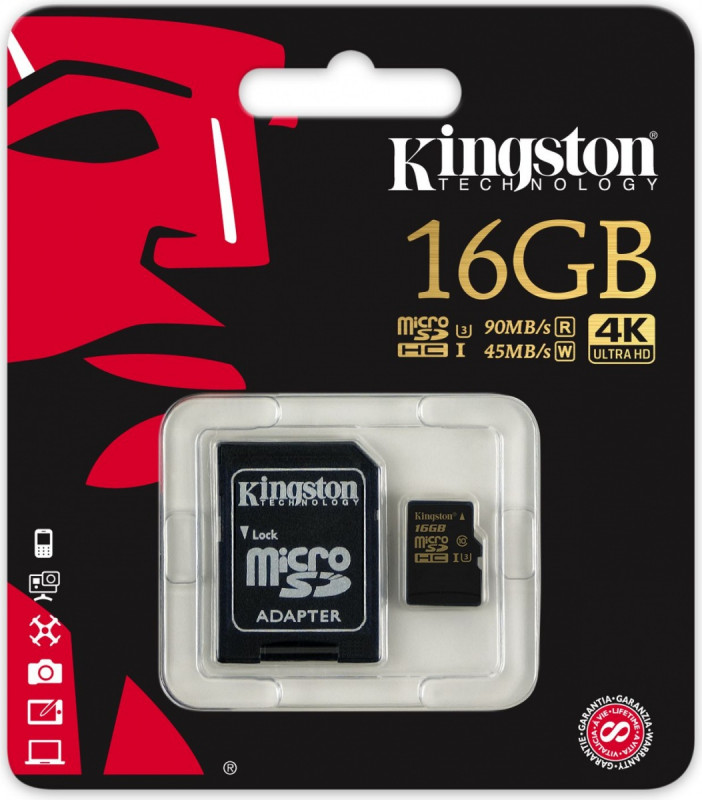 Kingston Micro SDHC 16GB class 10 UHS-I U3 + SD adaptér