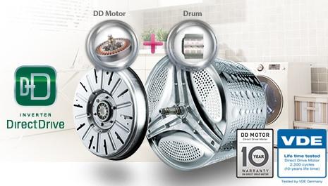 LG DIRECT DRIVE™ - přímý pohon bubnu pračky