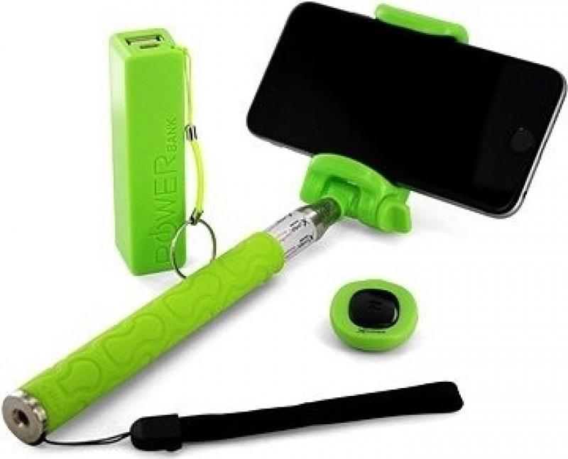 XLAYER Selfie-Stick a Powerbank 2600 mAh zelená