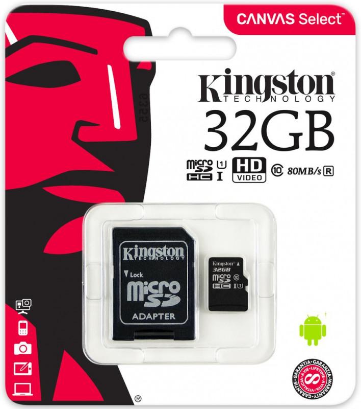 Kingston Micro SDHC 32GB class 10 SDCS + adaptér