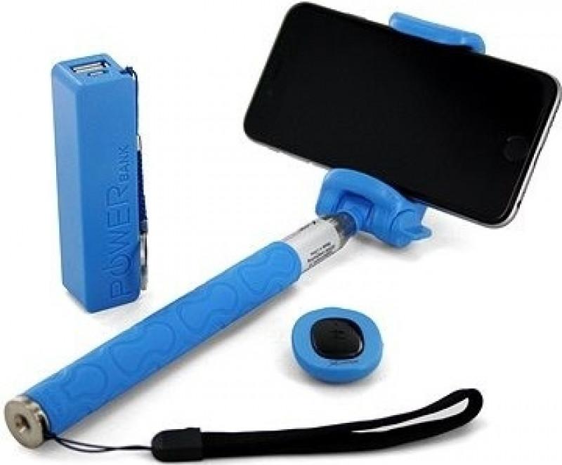 XLAYER Selfie-Stick a Powerbank 2600 mAh modrá